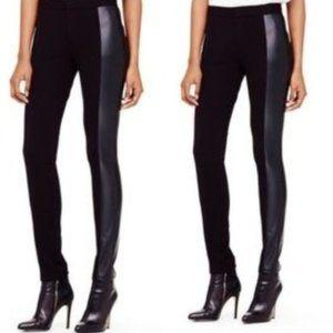 Club Monaco Faux Leather Panel Leggings Zip Front